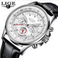 Мужские часы Lige 9814 leather